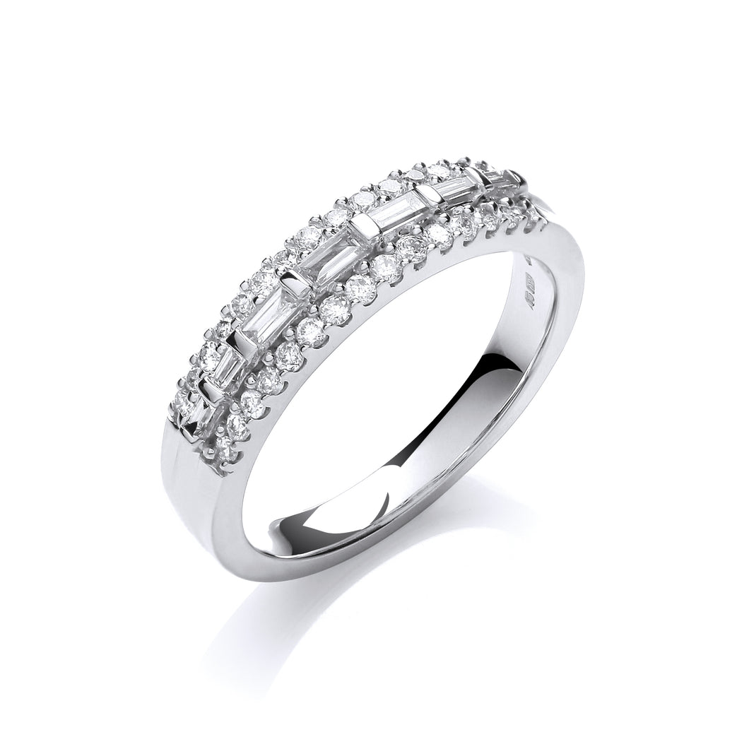 18ct White Gold Mixed Cut Diamond 0.50ct Half Eternity Ring