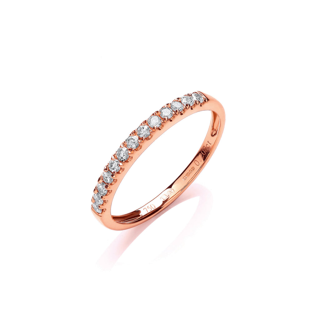 18ct Rose Gold Diamond 0.20ct Half Eternity Ring