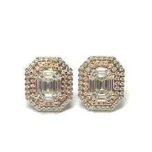 Load image into Gallery viewer, 18ct white and rose gold Diamond Earrings