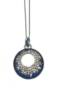18ct White Gold Diamond and Sapphire large Pendant