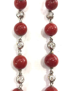 1960s Natural Coral and Diamond Drop Earrings