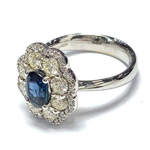 18 Carat White Gold Sapphire and Diamond Flower Cluster Ring