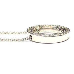 18 Carat White Gold Circular Diamond Pendant and Chain