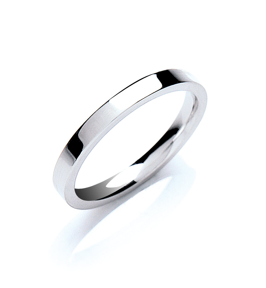 Flat Court Shape Wedding Band