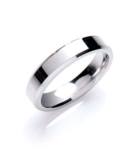 Flat Court Shape Bevelled Edge Wedding Ring