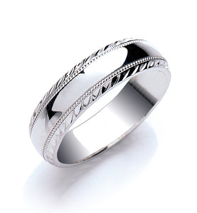 Court Mill Grain and Diamond Cut Edges Wedding Ring