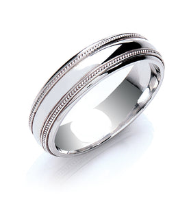 Court Mill Grain Edges Wedding Ring