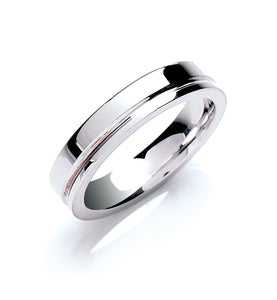 Flat Court Groove Detail Wedding Ring