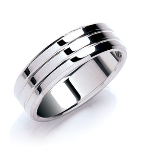 Flat Court Bevelled Edge Wedding Ring