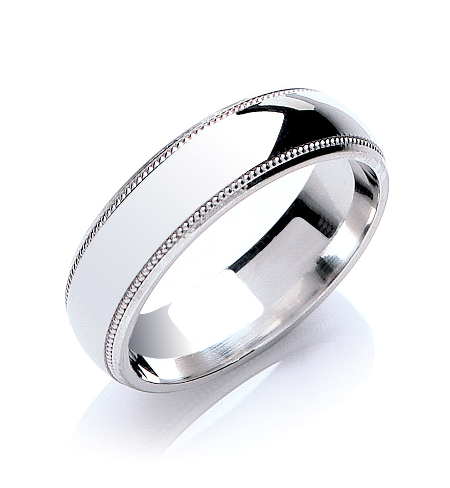Court Shape Mill Grain Edge Wedding Ring