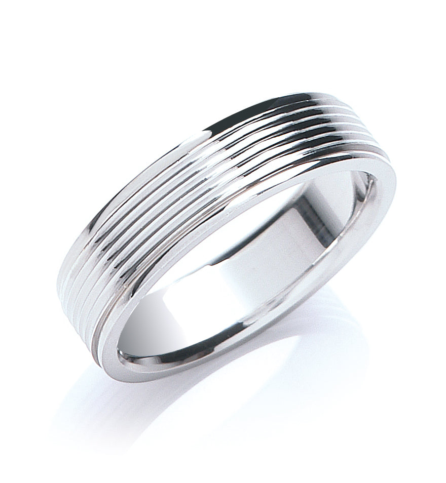 Flat Court Ribbed Wedding Ring