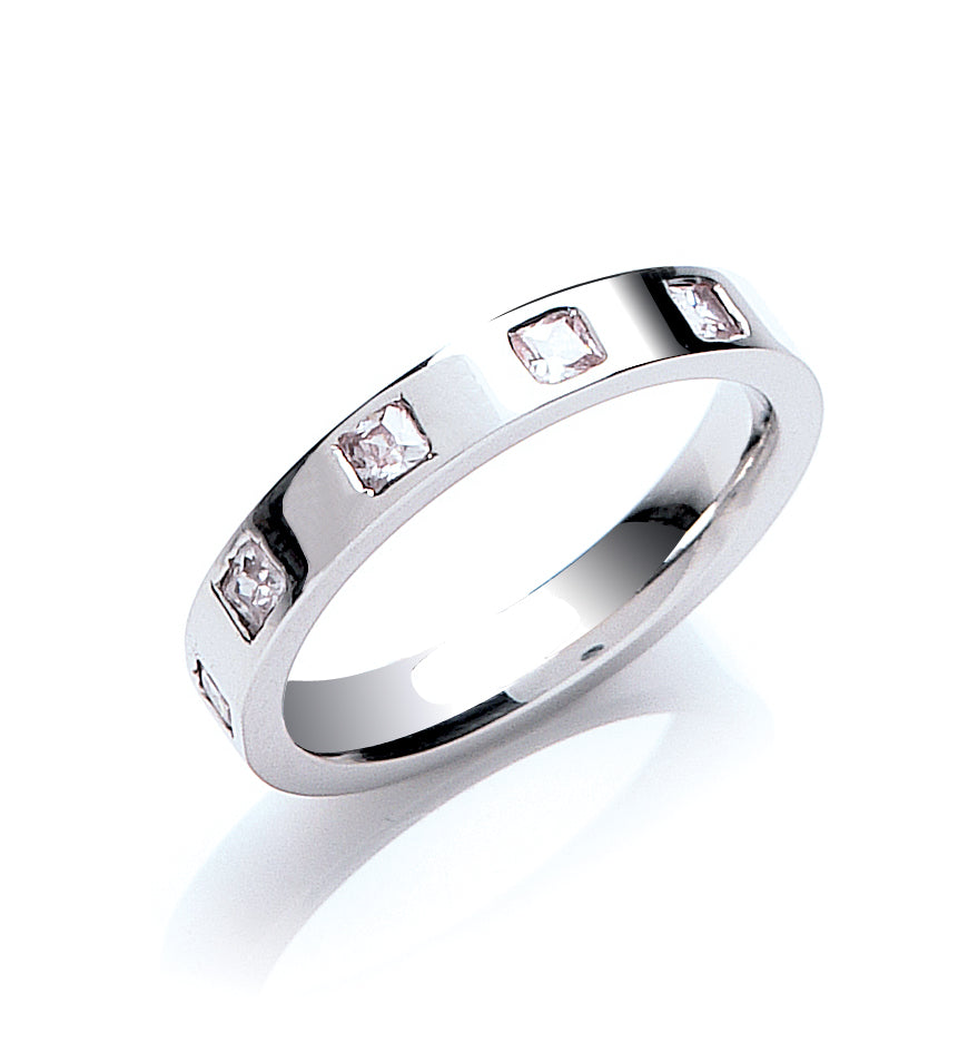 Princess Cut Diamond Set Flat Court Wedding Ring