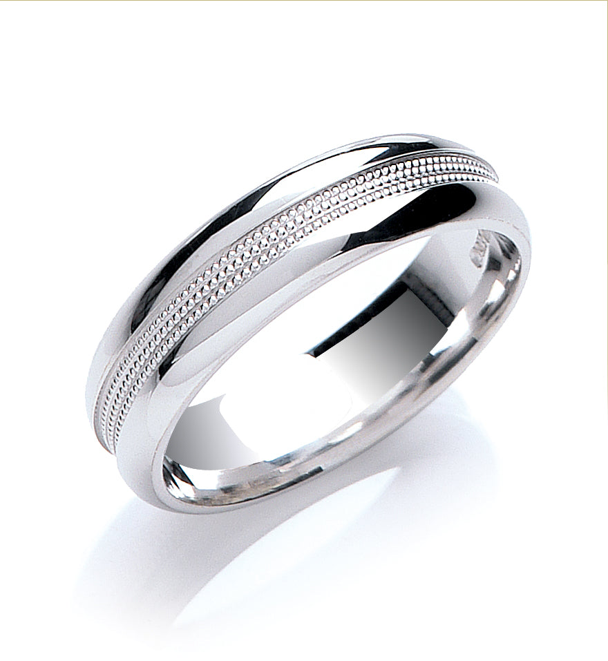 Court Shape Mill Grain Detail Wedding Ring