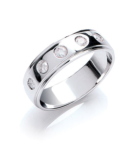 Brilliant Cut Diamond Set Court Shape Wedding Ring