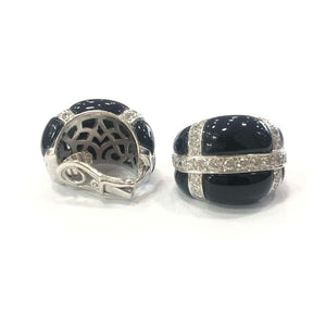 18 Carat White Gold Onyx and Diamond Earrings