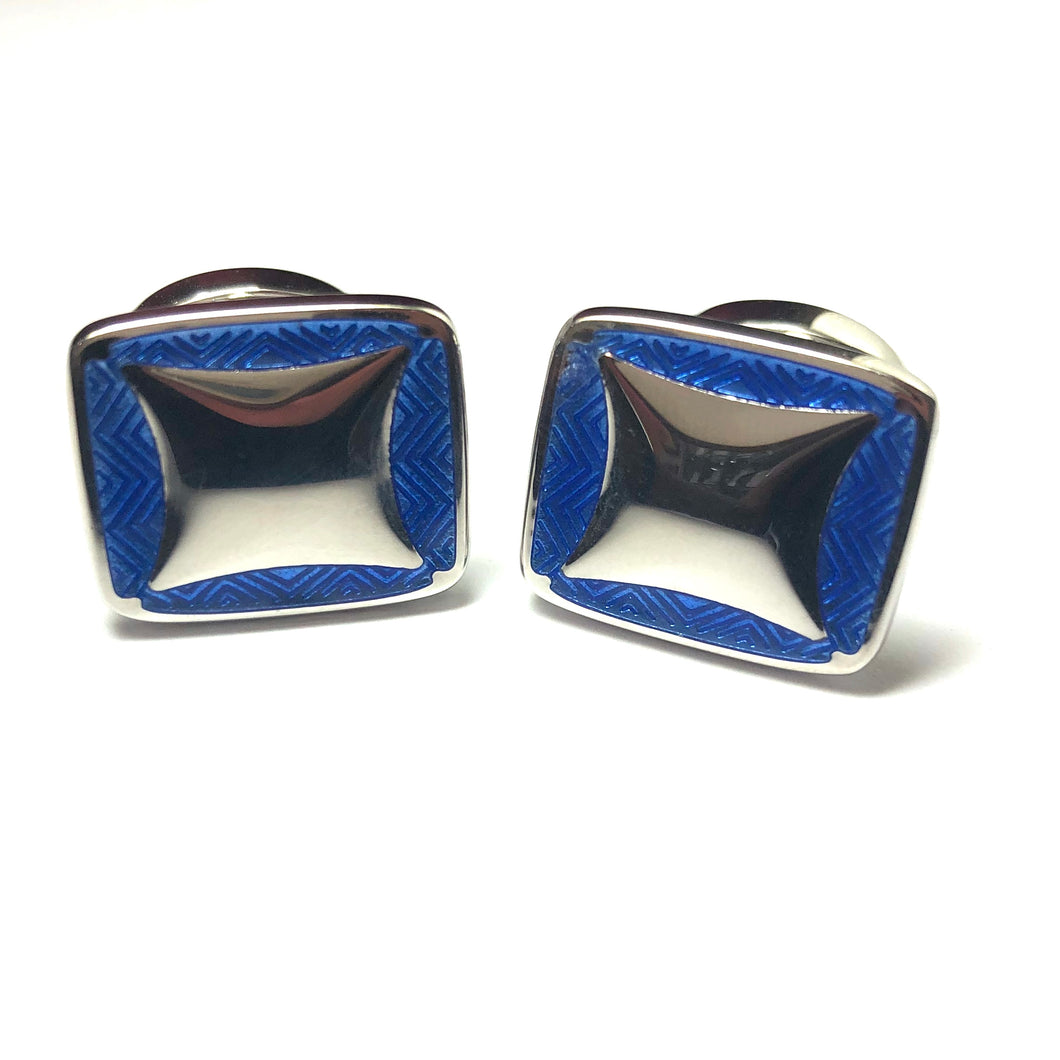 Silver and Enamel Hinged Cufflinks