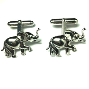 Silver Elephant Hinged Cufflinks