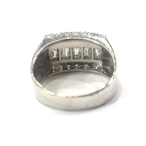 14 Carat White Gold Diamond Unisex Chunky Ring