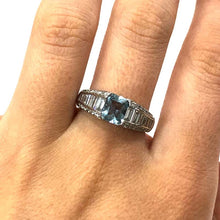 Load image into Gallery viewer, 18 Carat White Gold Aquamarine and Baguette Diamond Ring