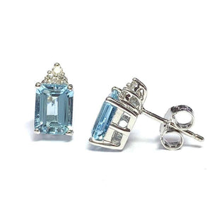 18 Carat White Gold Aquamarine and Diamond Stud Earrings