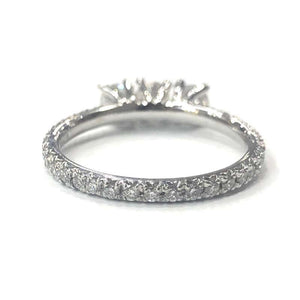 18 Carat White Gold Three-Stone Diamond Ring with Full Diamond Set Shank