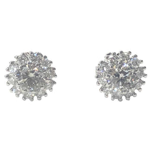 18 Carat White Gold Diamond Cluster Stud Earrings