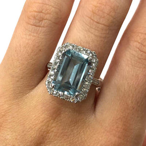 18 Carat White Gold Aquamarine and Diamond Cluster Ring