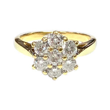 Load image into Gallery viewer, 1970s 18 Carat Yellow Gold Seven Stone Diamond Cluster Ring