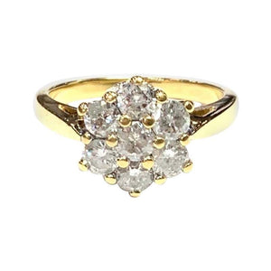 1970s 18 Carat Yellow Gold Seven Stone Diamond Cluster Ring