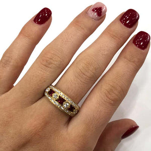 18 Carat Yellow Gold Ruby and Diamond Band Ring