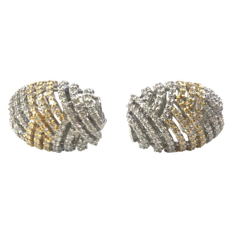 14 Carat Yellow and White Gold Diamond Earrings