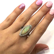 Load image into Gallery viewer, 18 Carat White Gold Edwardian Opal and Diamond Marquise Shape Cluster Ring