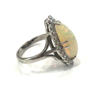 18 Carat White Gold Edwardian Opal and Diamond Marquise Shape Cluster Ring