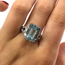 Load image into Gallery viewer, 18 Carat White Gold Aquamarine, Sapphire and Diamond Ring