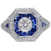 Load image into Gallery viewer, Sapphire and Diamond Art Deco style Ring