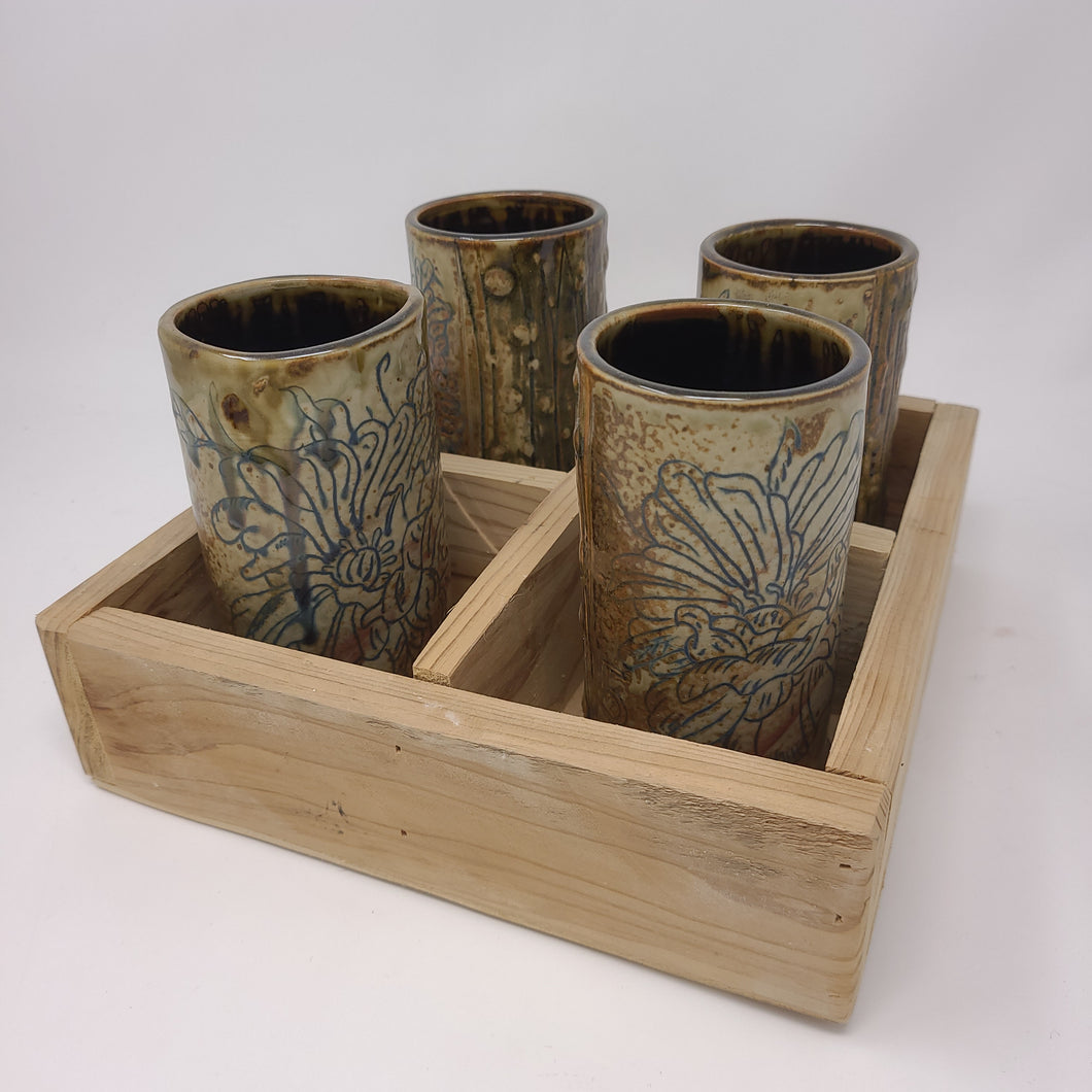 Cup Set 53 with cedar tray - Peony Cups (orange)