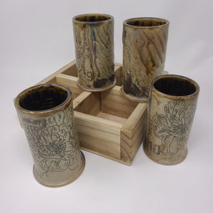 Cup Set 54 with cedar tray, Peony Cups (green)