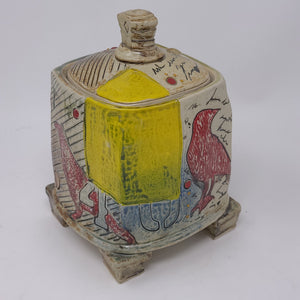 Square Lidded Container (red Bird) 67