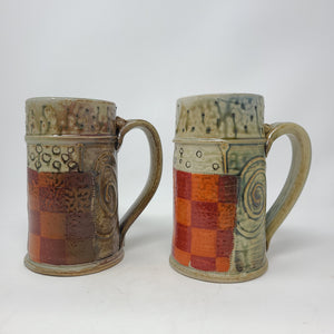 Beer Stein (554N) w/ Orange and Red Checkers,  24 ounces - 101