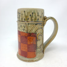 Load image into Gallery viewer, Beer Stein (WM28) w/ Orange and Red Checkers,  24 ounces - 102