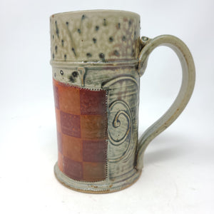 Beer Stein (B1R5) w/ Orange and Red Checkers,  24 ounces - 103