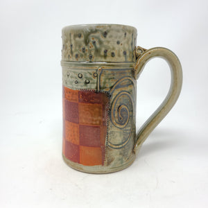 Beer Stein (M11M) w/ Orange and Red Checkers,  24 ounces - 104