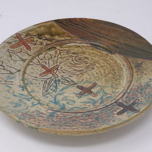 "Bowl with Red ""X"" Fish Plate - 127"