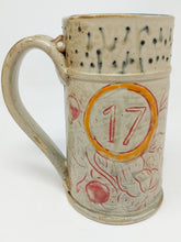 Load image into Gallery viewer, Beer Stein #17 Orange Circle w/ Green and Navy Stripe 24 ounces
