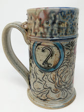 Load image into Gallery viewer, Beer Stein #2 Blue Circle w/ Orange and Yellow Stripe 24 ounces
