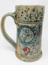 Load image into Gallery viewer, Beer Stein #7 Blue Circle w/ Orange and Yellow Stripe 24 ounces