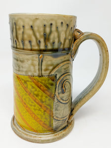 Beer Stein #7 Blue Circle w/ Orange and Yellow Stripe 24 ounces
