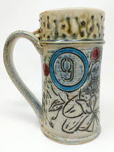 Load image into Gallery viewer, Beer Stein #9 Blue Circle w/ Orange and Yellow Stripe 24 ounces