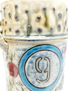 Beer Stein #9 Blue Circle w/ Orange and Yellow Stripe 24 ounces