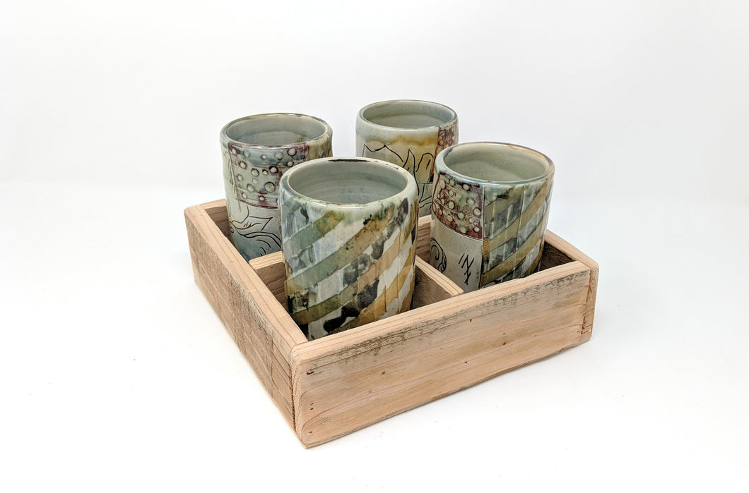 Handmade ceramic Tumbler Set, Set of 4, with reclaimed Cedar box